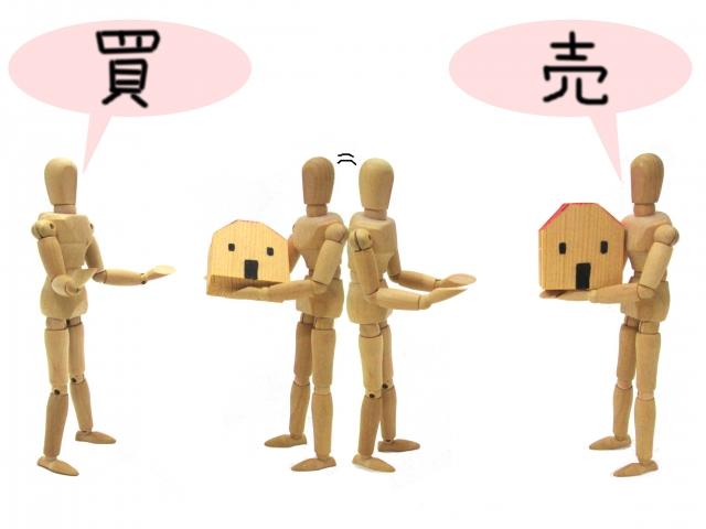 家の売買の再現をする人形