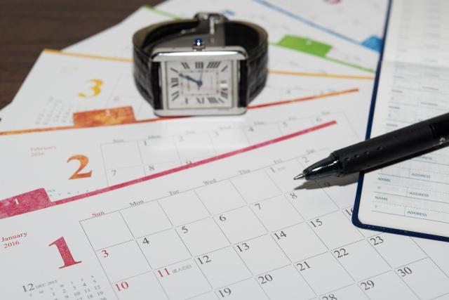 カレンダーと腕時計