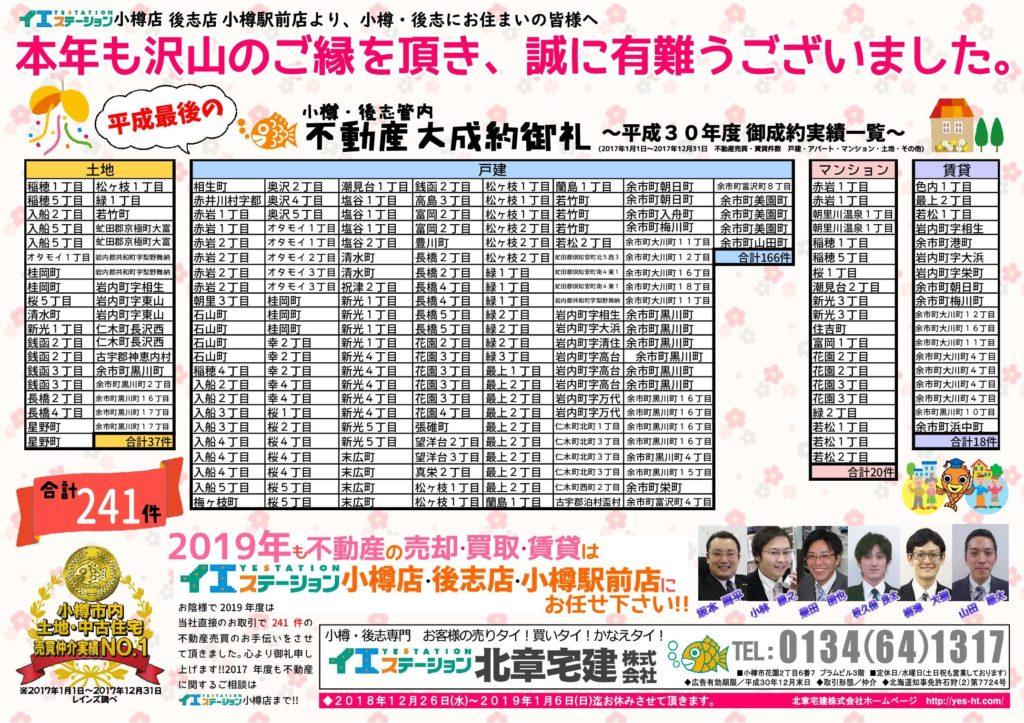小樽店の2018年成約御礼チラシ