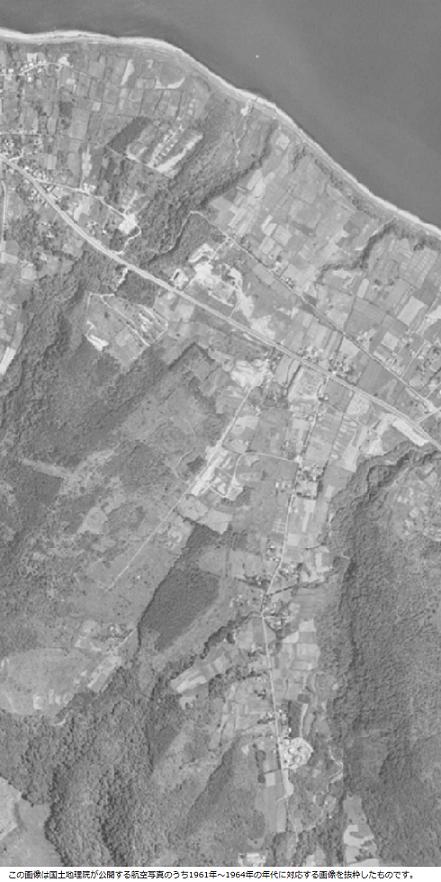 十万坪の古い航空写真