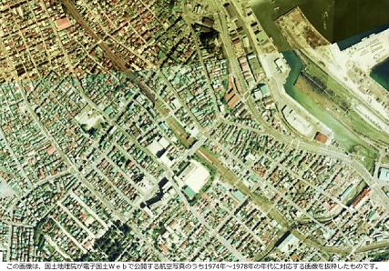 昭和50年前後の南小樽駅周辺の航空写真