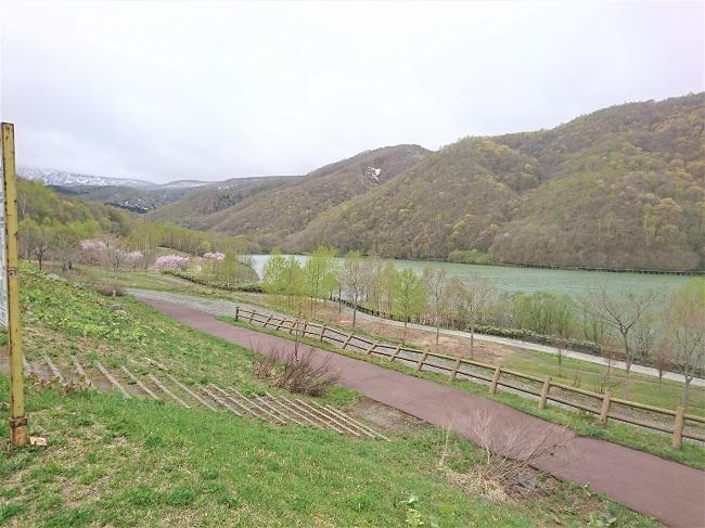 朝里ダムの湖畔