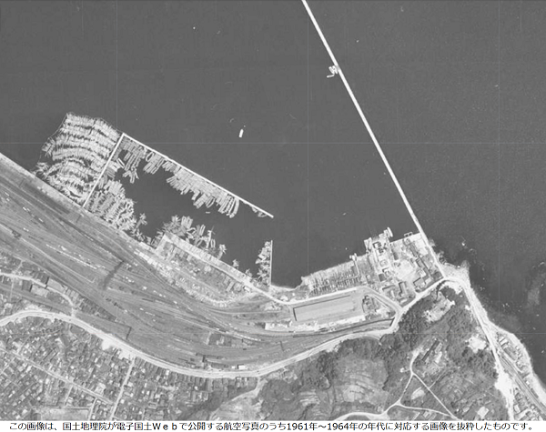 小樽築港駅 航空写真(昭和30年代後半)