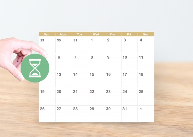 カレンダーと砂時計