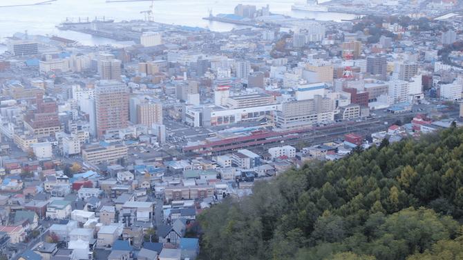 高台から見た小樽の街並み
