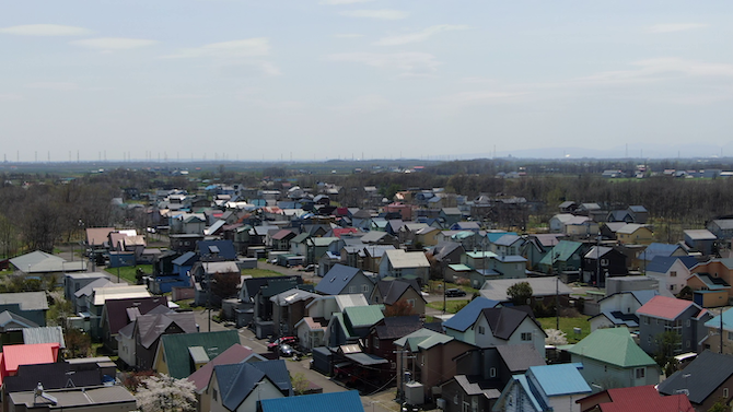 高台からのニュータウンの写真