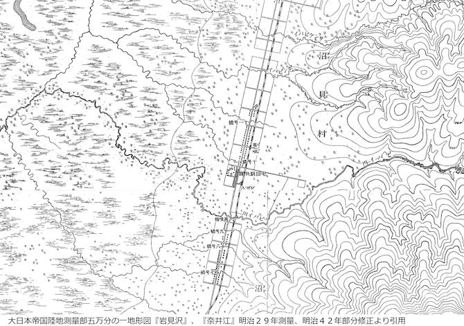 明治29年の奈井江と岩見沢の地図