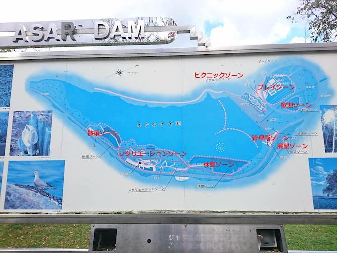 朝里ダムの地図