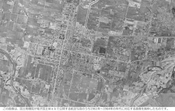 昭和30年の美唄の航空写真