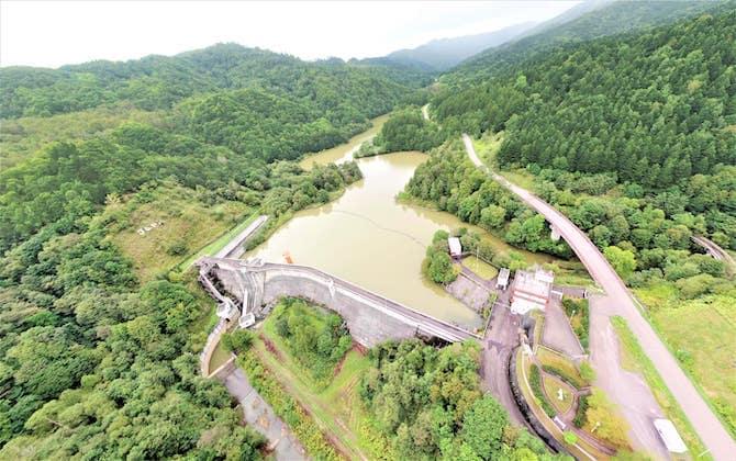 上空から見た美唄ダム