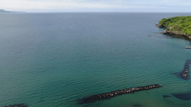 蘭島の海と水平線