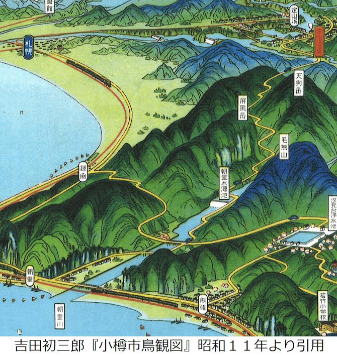 昭和11年の小樽の鳥瞰図