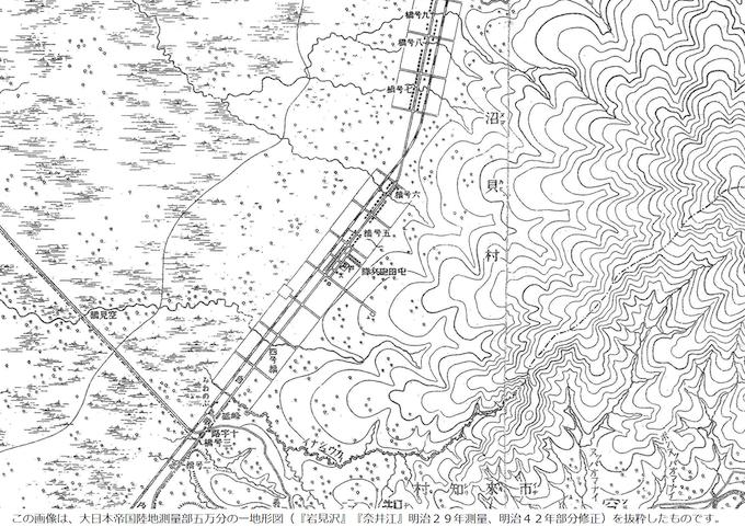 明治の沼貝村の地形図