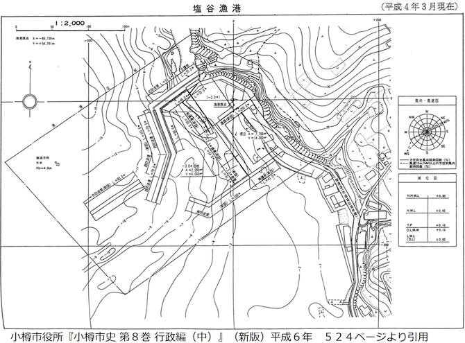平成4年の塩谷漁港図