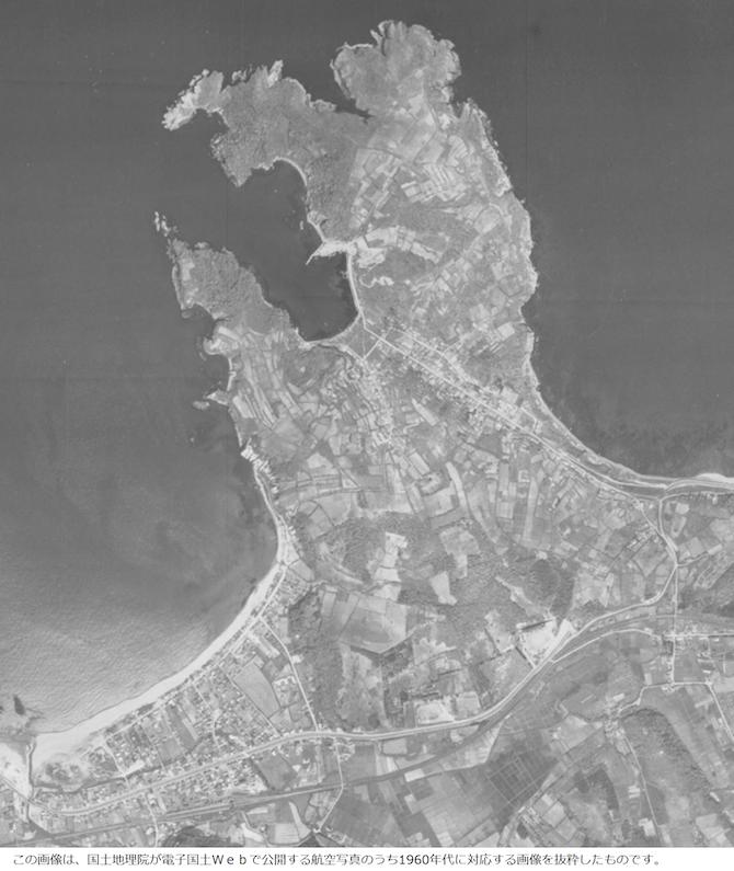 昭和の余市と西武小樽の航空写真
